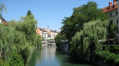 Embankments of Ljubljanica in the center of Ljubljana